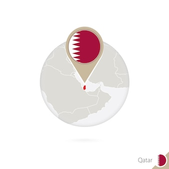 Carte et drapeau du qatar en cercle. carte du qatar, épinglette du drapeau du qatar. carte du qatar dans le style du globe. illustration vectorielle.