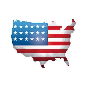 Carte avec drapeau des états-unis d'amérique