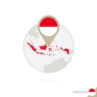 Carte et drapeau de l'indonésie en cercle. carte de l'indonésie, épinglette du drapeau de l'indonésie. carte de l'indonésie dans le style du globe. illustration vectorielle.
