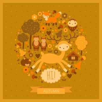 Carte drôle d'automne avec cerf, renard, oiseau, ours et hérisson