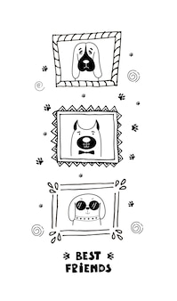 Carte drôle avec les chiens de visage mignons et lettrage meilleurs amis!