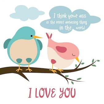 Carte drôle d'oiseaux amoureux