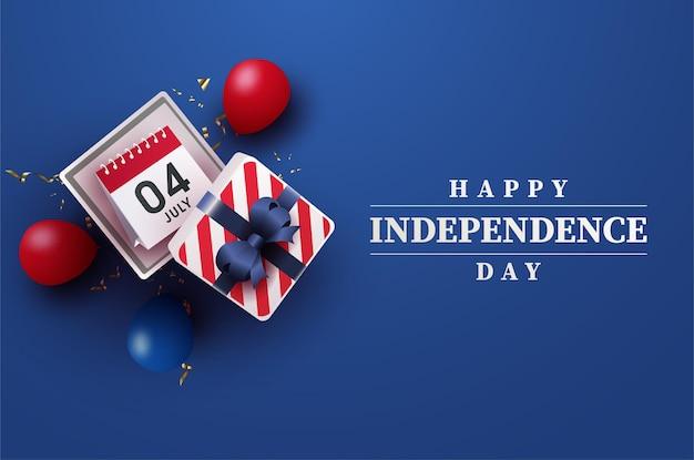 Carte du 4 juillet de la fête de l'indépendance américaine avec des ballons et des coffrets cadeaux