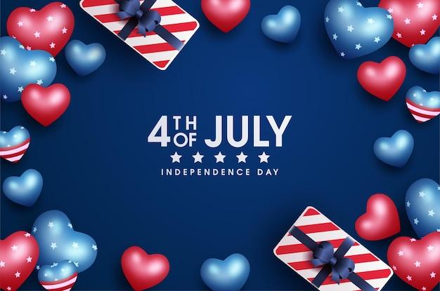 Carte du 4 juillet de la fête de l'indépendance américaine avec coffrets cadeaux et coeurs