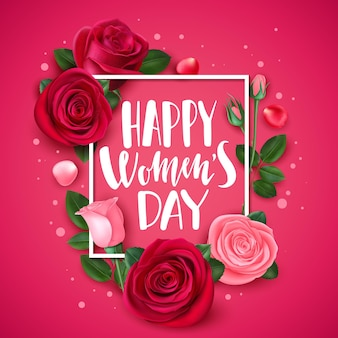 Carte du 8 mars avec rose. carte de voeux florale de félicitations pour la journée internationale des femmes, modèle de bannière de fleurs et de pétales de cadre à la mode. félicitation bouquet fleur carte rose