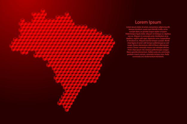 Carte du brésil de concept abstrait isométrique de cubes rouges 3d