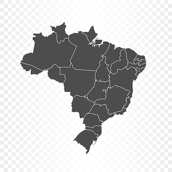 Carte du brésil isolée sur transparent