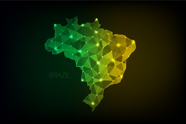 Carte du brésil polygonale avec des lumières rougeoyantes et une ligne