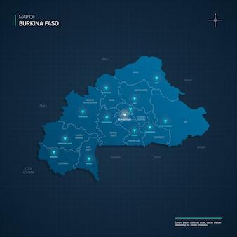 Carte du burkina faso avec des points lumineux au néon bleu
