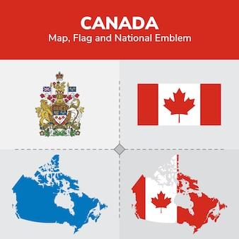 Carte du canada, drapeau et emblème national