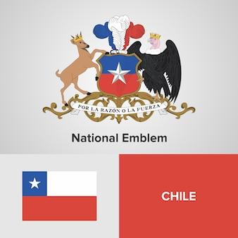 Carte du chili, drapeau et emblème national