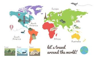 Carte du Continent du Monde Emplacement Illustration Graphique