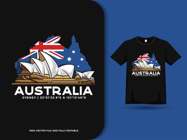 Carte du drapeau de l'australie et illustration de l'opéra de sydney sur la conception de tshirt