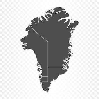Carte du groenland isolée sur transparent
