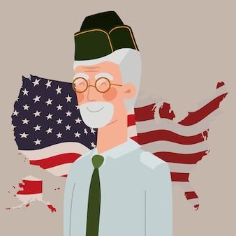 Carte du jour commémoratif avec le vétéran et le drapeau américain