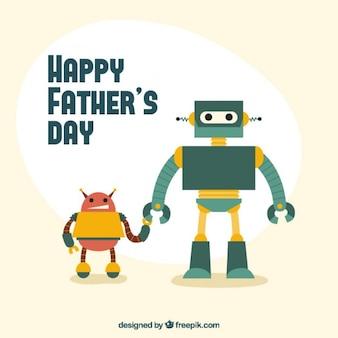 Carte du jour de père d'origine avec des robots