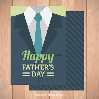 Carte du jour de père avec la veste et une cravate dans la conception plate