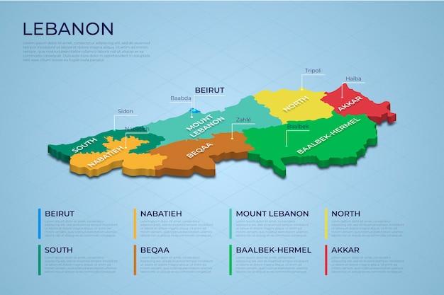Carte du liban isométrique divisée