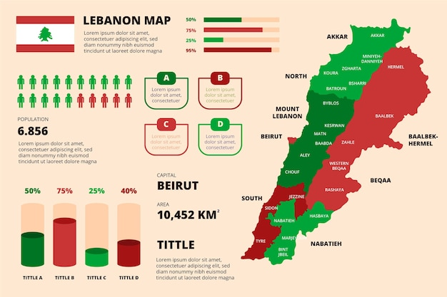 Carte du liban plat illustré