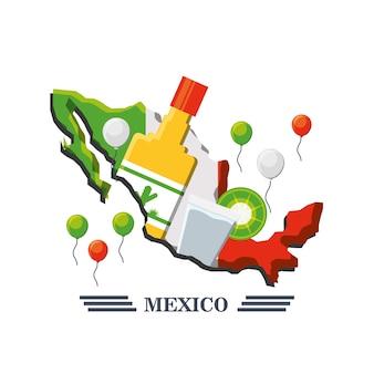 Carte du mexique avec des éléments mexicains
