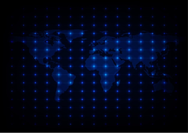 Carte du monde abstrait blue lights background