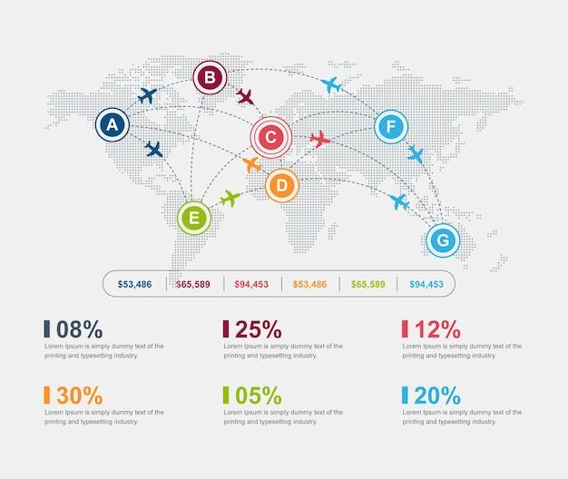 Carte du monde airline business aéroport infographic