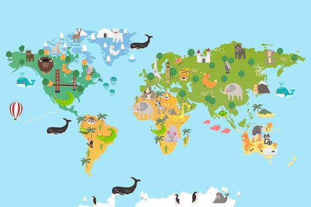 Carte du monde animal