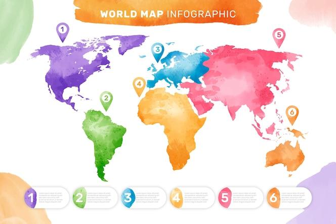 Carte du monde aquarelle infographique