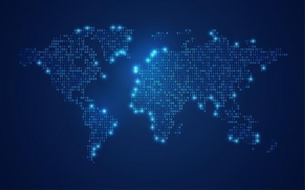 Carte du monde binaire
