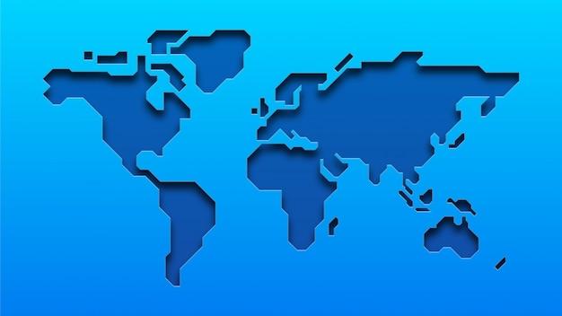 Carte du monde bleu