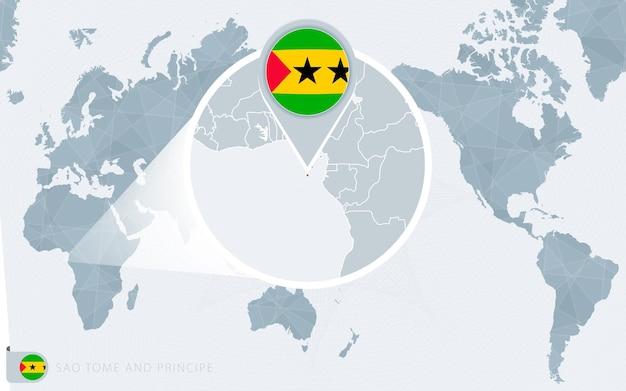 Carte du monde centrée sur le pacifique avec l'agrandissement de sao tomé-et-principe. drapeau et carte de sao tomé et principe.
