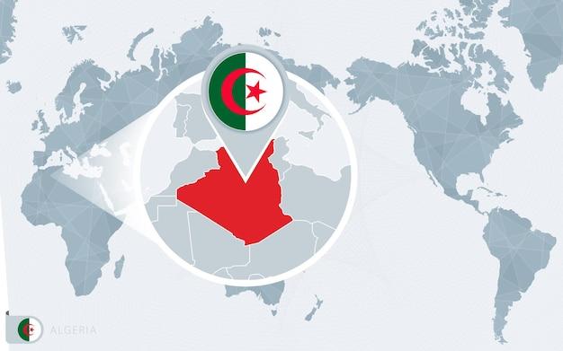 Carte du monde centrée sur le pacifique avec l'algérie agrandie. drapeau et carte de l'algérie.