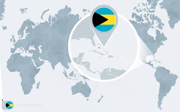 Carte du monde centrée sur le pacifique avec les bahamas agrandies. drapeau et carte des bahamas.