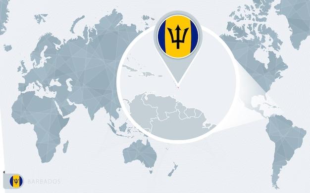 Carte du monde centrée sur le pacifique avec la barbade agrandie. drapeau et carte de la barbade.