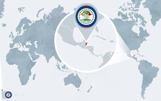 Carte du monde centrée sur le pacifique avec le belize agrandie. drapeau et carte du belize.