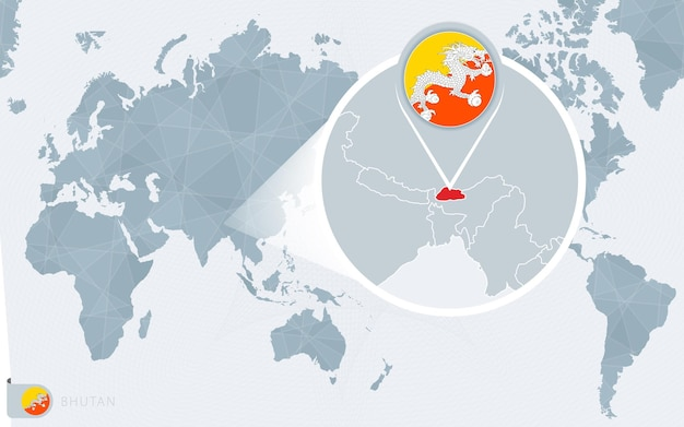 Carte du monde centrée sur le pacifique avec le bhoutan agrandi. drapeau et carte du bhoutan.
