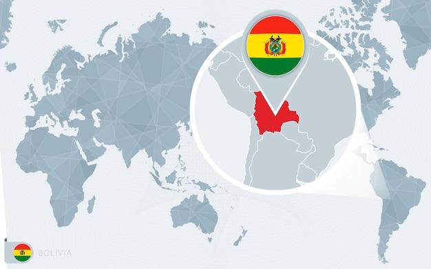 Carte du monde centrée sur le pacifique avec la bolivie agrandie. drapeau et carte de la bolivie.