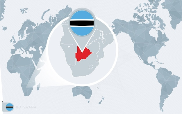 Carte du monde centrée sur le pacifique avec le botswana agrandi. drapeau et carte du botswana.