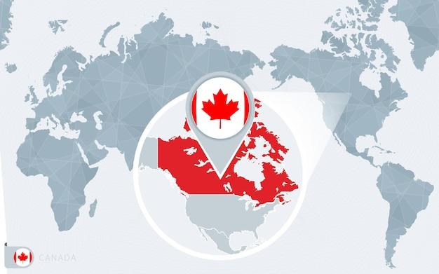 Carte du monde centrée sur le pacifique avec le canada agrandi. drapeau et carte du canada.