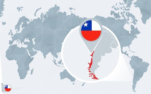 Carte du monde centrée sur le pacifique avec le chili agrandi.