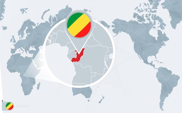 Carte du monde centrée sur le pacifique avec le congo agrandi. drapeau et carte du congo.