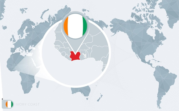 Carte du monde centrée sur le pacifique avec la côte d'ivoire agrandie. drapeau et carte de la côte d'ivoire.