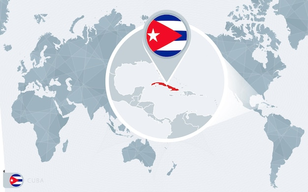Carte du monde centrée sur le pacifique avec cuba agrandie. drapeau et carte de cuba.