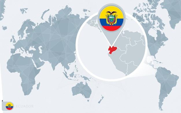 Carte du monde centrée sur le pacifique avec l'équateur agrandi. drapeau et carte de l'équateur.