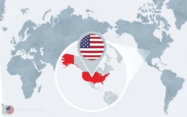 Carte du monde centrée sur le pacifique avec les états-unis agrandis. drapeau et carte des etats-unis.