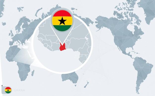 Carte du monde centrée sur le pacifique avec le ghana agrandi. drapeau et carte du ghana.