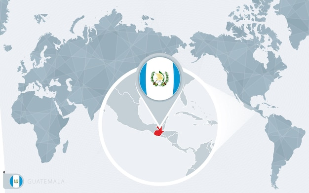 Carte du monde centrée sur le pacifique avec le guatemala agrandi. drapeau et carte du guatemala.