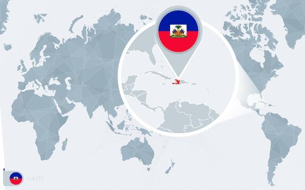 Carte du monde centrée sur le pacifique avec haïti agrandie. drapeau et carte d'haïti.
