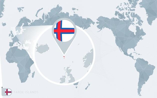 Carte du monde centrée sur le pacifique avec les îles féroé agrandies. drapeau et carte des îles féroé.