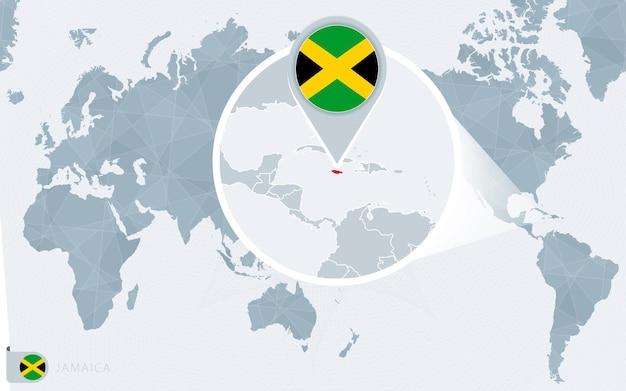 Carte du monde centrée sur le pacifique avec la jamaïque agrandie. drapeau et carte de la jamaïque.